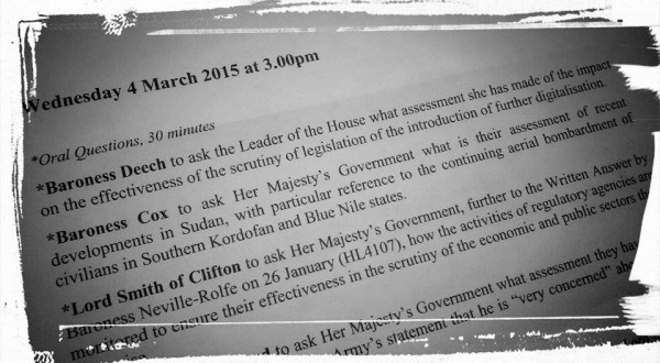 Situation in Sudan debated at the House of Lords