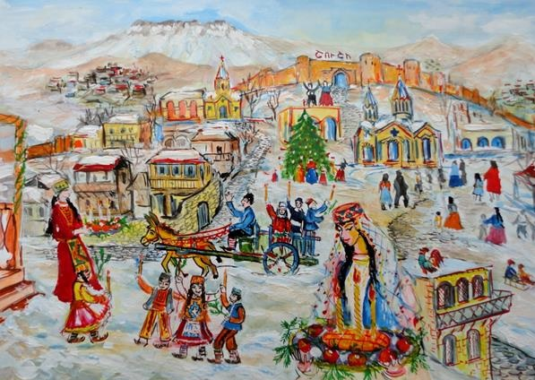 HART's Christmas card. The original artwork was painted by Erik Manucharyan, a deaf and mute patient at the Lady Cox Rehabilitation Centre in Nagorno-Karabakh.