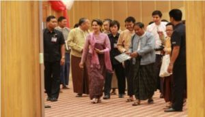 State Counselor Aung San Suu Kyi in Naypyidaw on Tuesday meeting with the eight ethnic armed groups that signed the Nationwide Ceasefire Agreement