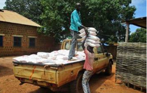 Food aid arrives by truck. Photo: Diocese of Wau website, 2016