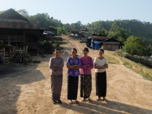 Residents of Ngot Ngar village, Kutkai township, Shan State, in front of their homes, which have come under attack from the Burmese military © 2016 Fiona MacGregor/Myanmar Times.