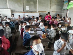 Children with surgical masks