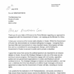Response from Minister of Africa for Letter about Sudan