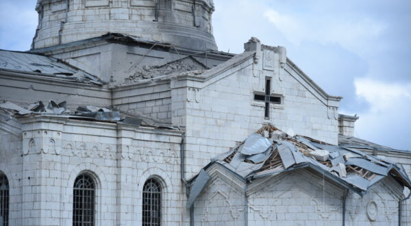 Ghazanchetsots Cathedral in Shushi, Nagorno Karabakh (Artsakh) Damaged by Reported Azerbaijani Shelling